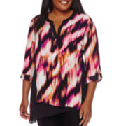 Worthington® 3/4-Sleeve Colorblock Asymmetrical Tunic - Plus