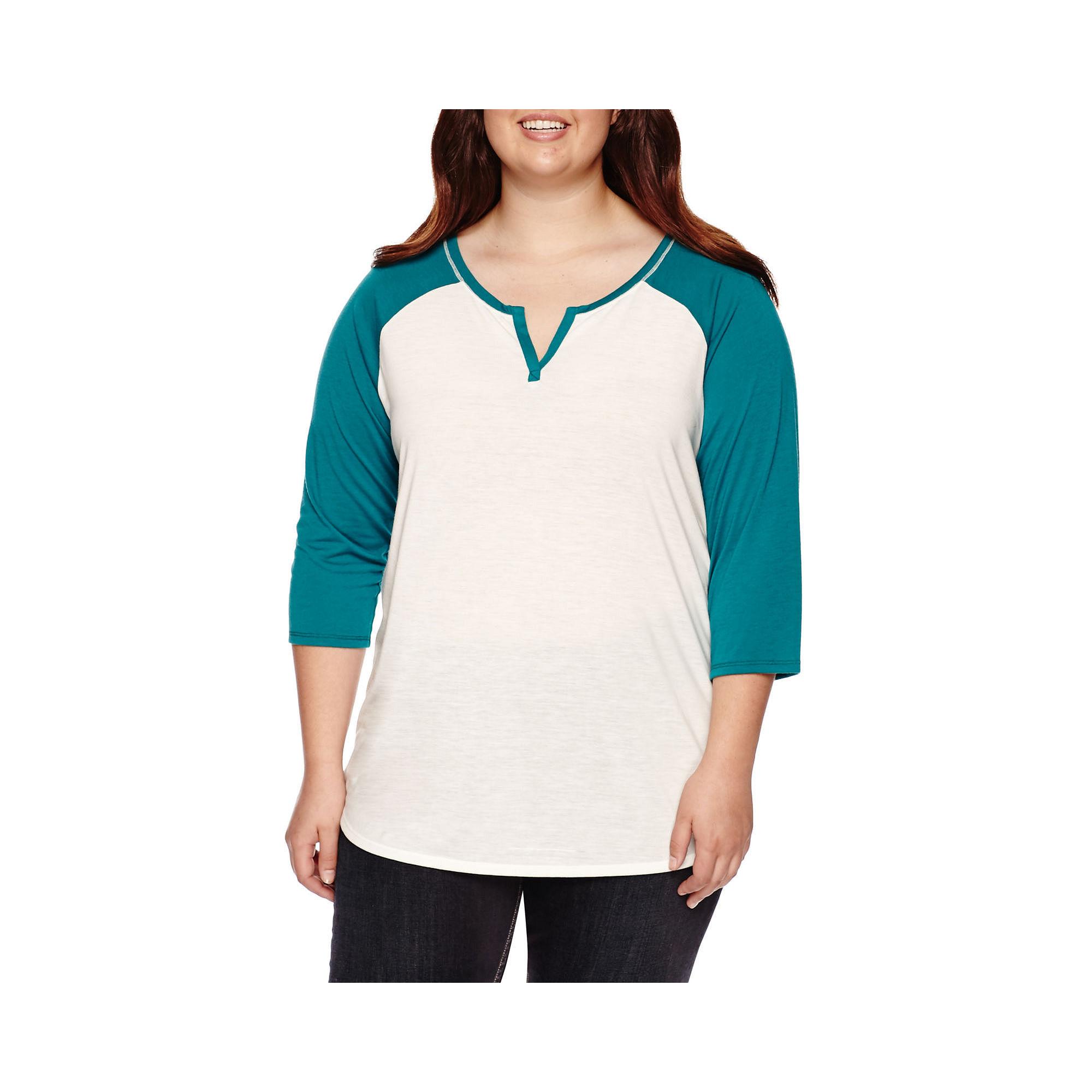 Arizona Elbow-Sleeve Baseball Tee - Juniors Plus plus size,  plus size fashion plus size appare