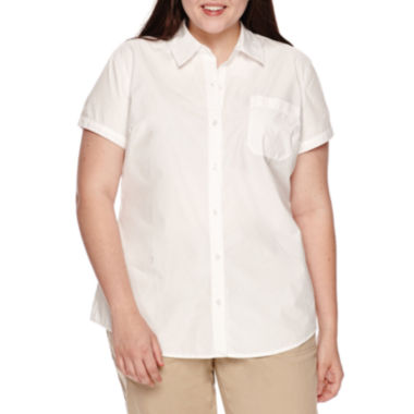 jcpenney.com | Arizona Short-Sleeve Woven Uniform Top - Juniors Plus