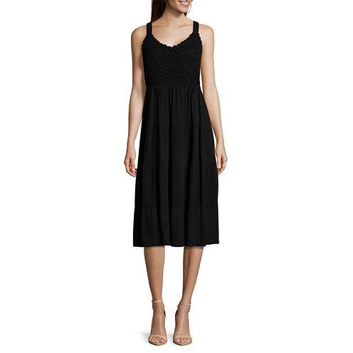 Studio West Sleeveless Crochet-Top Dress - Tall