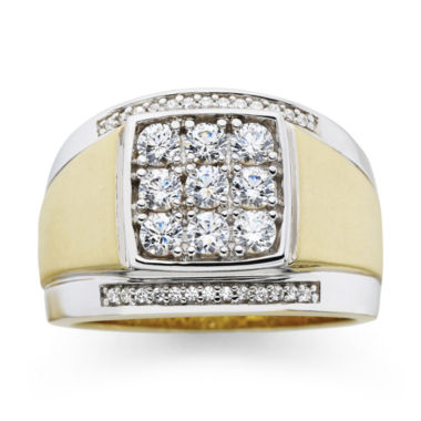 jcpenney.com | Mens 14K Gold-Plated Silver Cubic Zirconia Ring