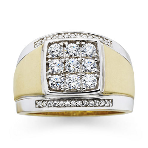 Mens 14K Gold-Plated Silver Cubic Zirconia Ring