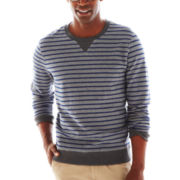 jcp™ French Terry Striped Crewneck