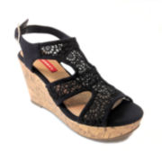 UNIONBAY® Frantic Lace Wedge Platform Sandals