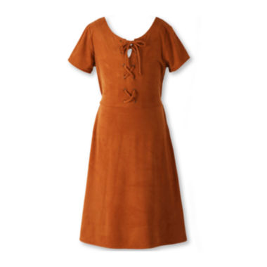 jcpenney.com | Speechless® Short-Sleeve Caramel Faux-Suede Fit-and-Flare Dress - Girls 7-16