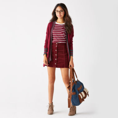 jcpenney.com | Arizona Varsity Cardigan, Striped Ringer Tee or Corduroy Button-Front Skirt