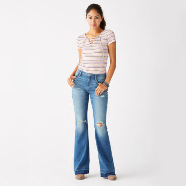 jcpenney.com | Arizona Lace-Up Tee or Destructed High-Rise Flare Jeans