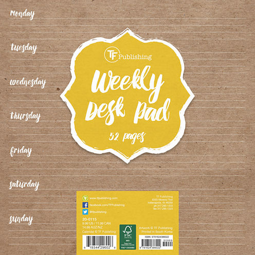 White Kraft Weekly Desk Pad