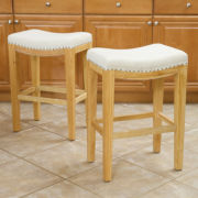 Waylan Set of 2 Backless Saddle Barstools with Nailhead Trim