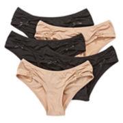 Flirtitude® 5-pk. Ruched Microfiber Hipster Panties