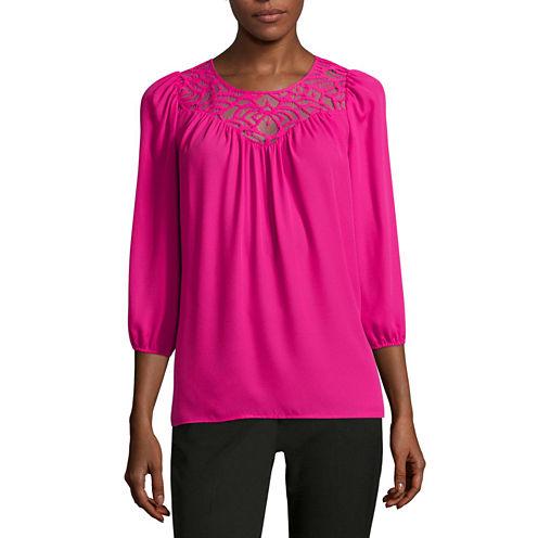 Worthington® 3/4-Sleeve Boho Lace Inset Peasant Blouse - Tall