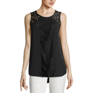 jcpenney.com | Worthington® Sleeveless Lace-Inset High-Low-Hem Top - Tall