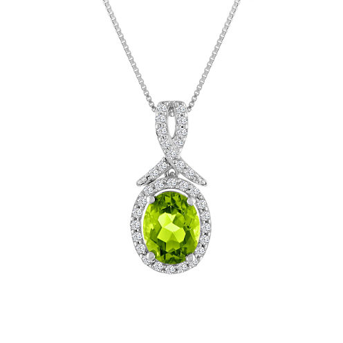 Womens Green Peridot Sterling Silver Pendant Necklace
