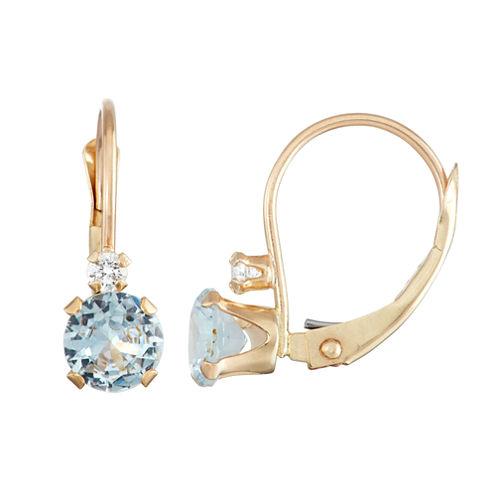 Blue Aquamarine 10K Gold Drop Earrings