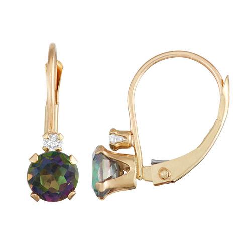 Multi Color Topaz 10K Gold Drop Earrings