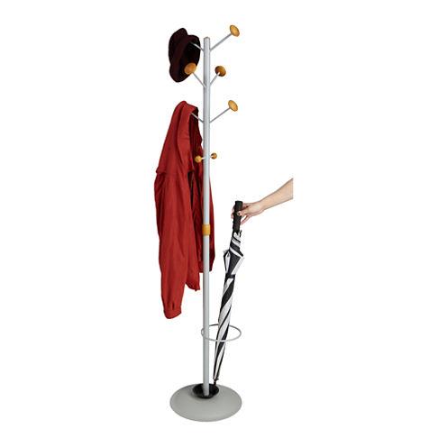 Mind Reader Free Standing 8-Hook Coat Rack With Umbrella Holder