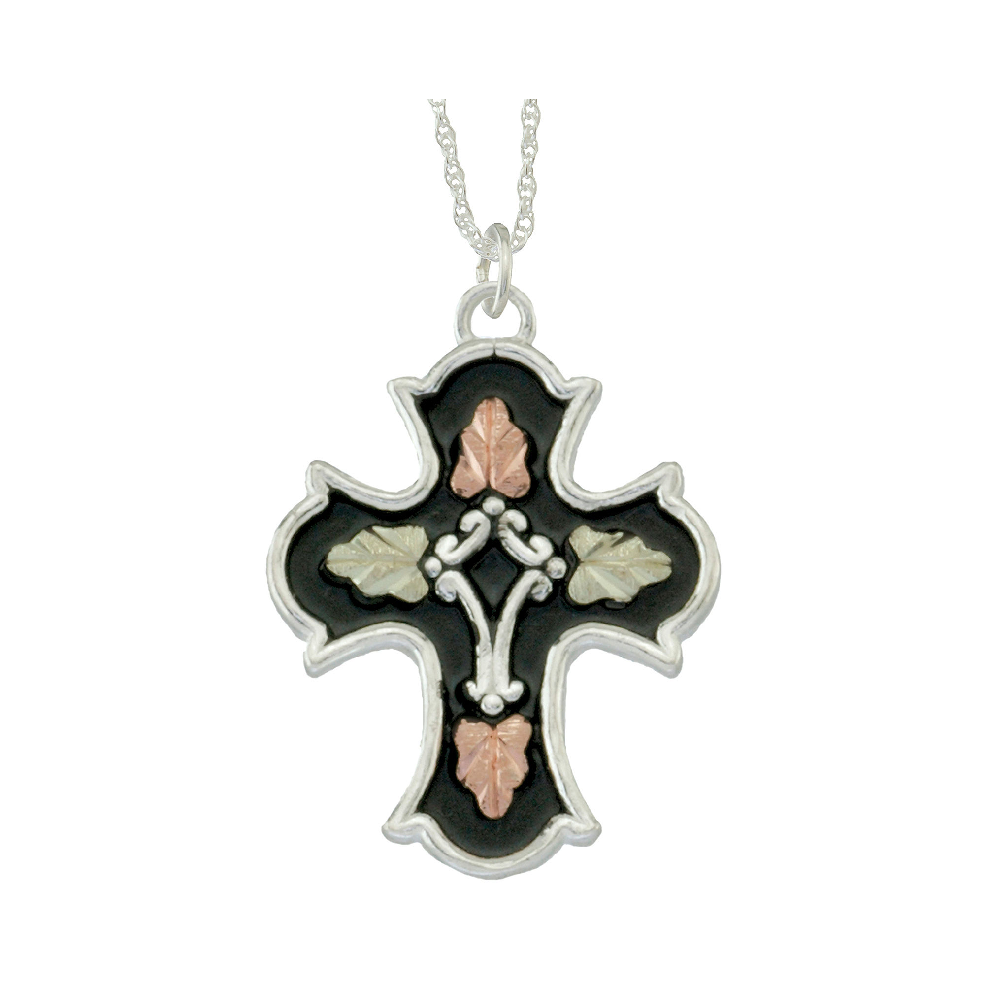 Black Hills Gold Jewelry by Coleman & Sterling Silver Cross Pendant Necklace