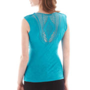 by&by Short-Sleeve Drape-Neck Crochet-Back Top