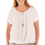 Alyx® Short-Sleeve Crochet-Trim Gauze Top - Plus