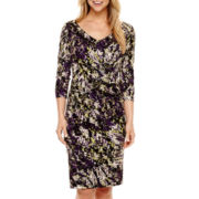 Black Label by Evan-Picone 3/4-Sleeve Print Dress
