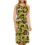 Black Label by Evan-Picone Sleeveless Floral Print Tie-Waist Dress