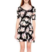 Decree® Elbow-Sleeve Knit Skater Dress