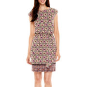 Worthington® Cap-Sleeve Tie-Belt Dress