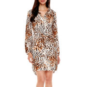 Worthington® Long-Sleeve Print Tie-Waist Shirtdress