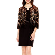 Studio 1® 3/4-Sleeve Animal Print Jacket Dress