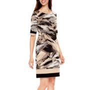 R&K Originals® 3/4-Sleeve Print Shift Dress