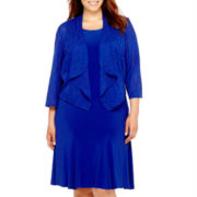 Danny & Nicole® 3/4-Sleeve Textured Knit Jacket Dress - Plus