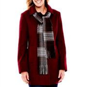 St. John's Bay® Wool-Blend Scarf Coat - Petite