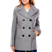 St. John's Bay® Wool-Blend Pea Coat - Tall