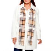 St. John's Bay® Wool-Blend Scarf Coat - Plus