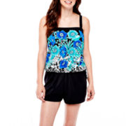 Azul by Maxine of Hollywood Bandeau Blouson Swim Top or Boardshorts
