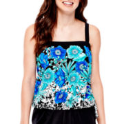 Azul by Maxine of Hollywood Bandeau Blouson Tankini Swim Top