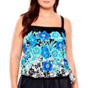 Azul by Maxine of Hollywood Bandeau Blouson Tankini Swim Top - Plus