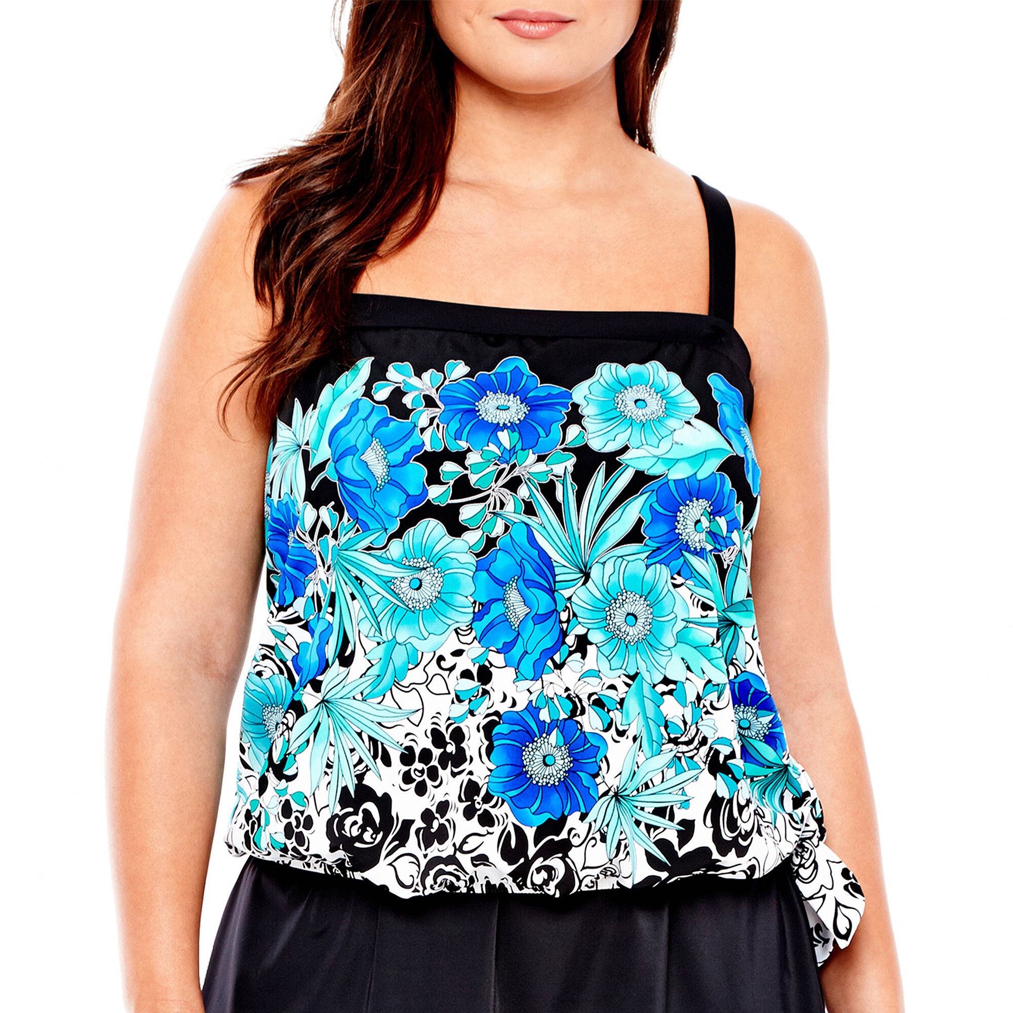 Azul by Maxine of Hollywood Bandeau Blouson Tankini Swim Top - Plus plus size,  plus size fashion plus size appare