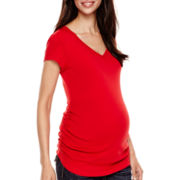 Zoomers Maternity Short-Sleeve Ruched-Side V-Neck T-Shirt