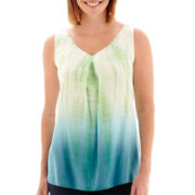 St. John's Bay® Sleeveless Tie-Dyed Woven Top - Petite