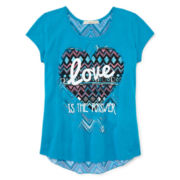 Self Esteem® Split-Back High-Low Tee - Girls 7-16 and Plus