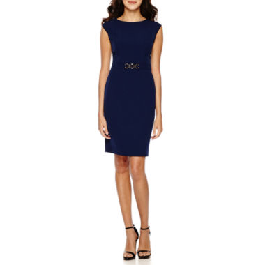 jcpenney.com | Chelsea Rose Cap-Sleeve Waist-Hardware Sheath Dress