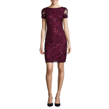 jcpenney.com | Studio 1® Short-Sleeve Textured Sparkle Sequin Sheath Dress