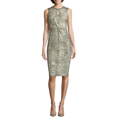J. Taylor Sleeveless Metallic Twist-Detail Sheath Dress