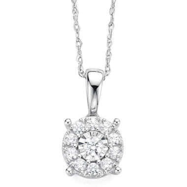 jcpenney.com | diamond blossom 1/5 CT. T.W. Diamond Miracle Plate 10K White Gold Pendant Necklace