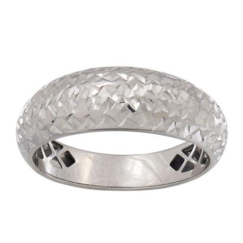 14K White Gold Domed Band Ring
