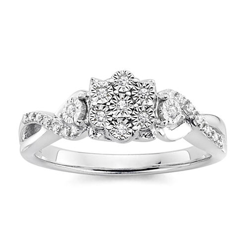 diamond blossom 1/10 CT. T.W. Diamond Miracle Plate Sterling Silver Ring