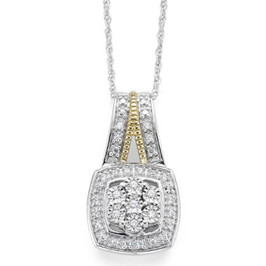 jcpenney.com | diamond blossom 1/10 CT. T.W. Diamond Miracle Plate Cushion Sterling Silver with 14k Gold over Silver Accent Pendant Necklace