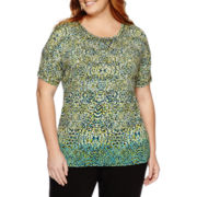Liz Claiborne® Elbow-Sleeve Tee - Plus