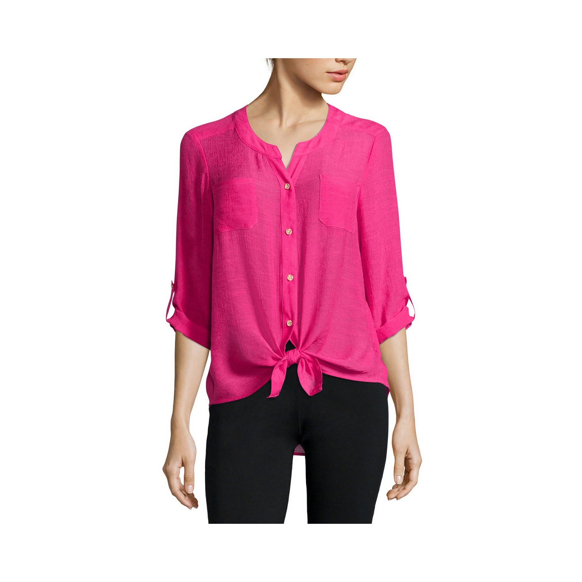 Alyx Long-Sleeve Roll-Cuff Gauze Top plus size,  plus size fashion plus size appare